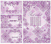 Set of vintage violet cards — Stock Vector