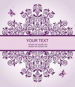 Violet floral vintage heading — Stock Vector