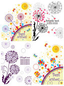 Spring cards with dandelion — Stock Vector