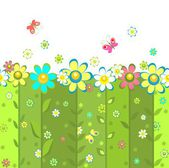 Abstract seamless background with blooming daisy — Vecteur