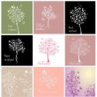 Greeting cards with beautiful tree — Stock Vector
