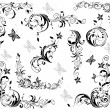 Vintage floral decorative elements (black and white) — Stock Vector #47677657