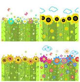 Floral spring, summery and autumnal wallpapers — Stock Vector