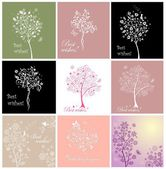 Greeting cards with beautiful tree — Stok Vektör