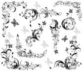 Vintage floral decorative elements (black and white) — Stock Vector
