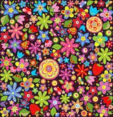 Wallpaper with summer flowers and strawberry — Stok Vektör