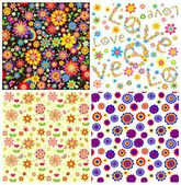 Collection of floral wallpapers — Vecteur