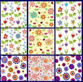 Funny abstract floral wallpapers — Stock Vector