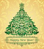 Golden greeting christmas card — Stock Vector