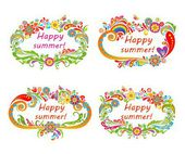Summery floral frames — Stock Vector