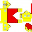 Printable 3d paper craft of a house - 图库矢量图片