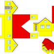 Printable 3d paper craft of a house - Vettoriali Stock 