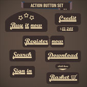 Action button set — Stock Vector