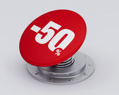 Red discount button — 图库照片
