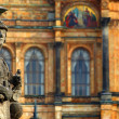 "The historic statue of ""Pallas Athene"" in Munich in Germany - Stock Photo"