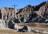 Rocky landscape with a telephone pole — Stock Photo