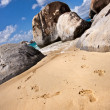 Stock Photo: Footsteps on one of most beautiful beach, Tortola