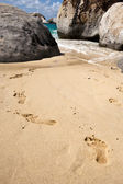 Footsteps on one of the most beautiful beach, Tortola — Stock Photo