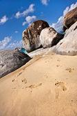 ślady na jednej z najpiękniejszych plaży, tortola — Zdjęcie stockowe