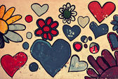 Love symbol, shapes of heart painted on a wall — Foto Stock