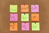 Post it, notes paper on wooden background — Stock Photo