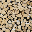 Photo: Background of dry chopped firewood logs in pile covered in snow