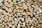 Background of dry chopped firewood logs in a pile covered in snow — Foto Stock