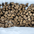 Firewood in snow — Stockfoto