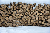 Firewood in snow — Stock Photo