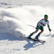 BRASOV ROMANIA - European youth Olympic - Winter festival 2013. Young ski racer during a slalom competition. — Foto de Stock