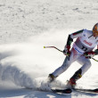 BRASOV ROMANIA - European youth Olympic - Winter festival 2013. Young ski racer during a slalom competition. - Stock Photo