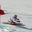 BRASOV ROMANIA - European youth Olympic - Winter festival 2013. Young ski racer during a slalom competition. — ストック写真