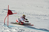 BRASOV ROMANIA - European youth Olympic - Winter festival 2013. Young ski racer during a slalom competition. — Foto Stock