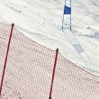 Ski gates with red and blue flags — Foto Stock