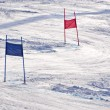 Ski gates with red and blue flags — Photo