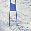 Ski gates with  blue flag — Stok fotoğraf