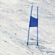 Ski gates with blue flags — Stok fotoğraf