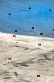Ski gates with red and blue flags — Stock Photo