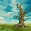 Child dead tree near — Stock Photo #19351397
