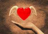 Winged heart in hand — Stock Photo