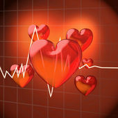 Hearts with frequency diagram — Stock Photo