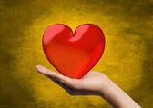 Srdce v ruce — Stock fotografie