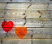 Coração com fundo de madeira — Fotografia Stock
