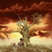 Kind dode boom in de buurt van — Stockfoto