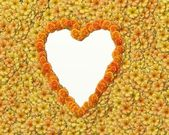 Heart shape background with flowers — 图库照片