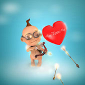 Cupid with heart — Stock Photo