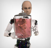 Android with a human body in glass jar — Photo