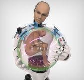 Android con esfera y productos químicos en el cuerpo humano — Foto de Stock