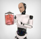 Android with a human body in glass jar — 图库照片