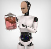 Android with a human body in glass jar — Stock Photo